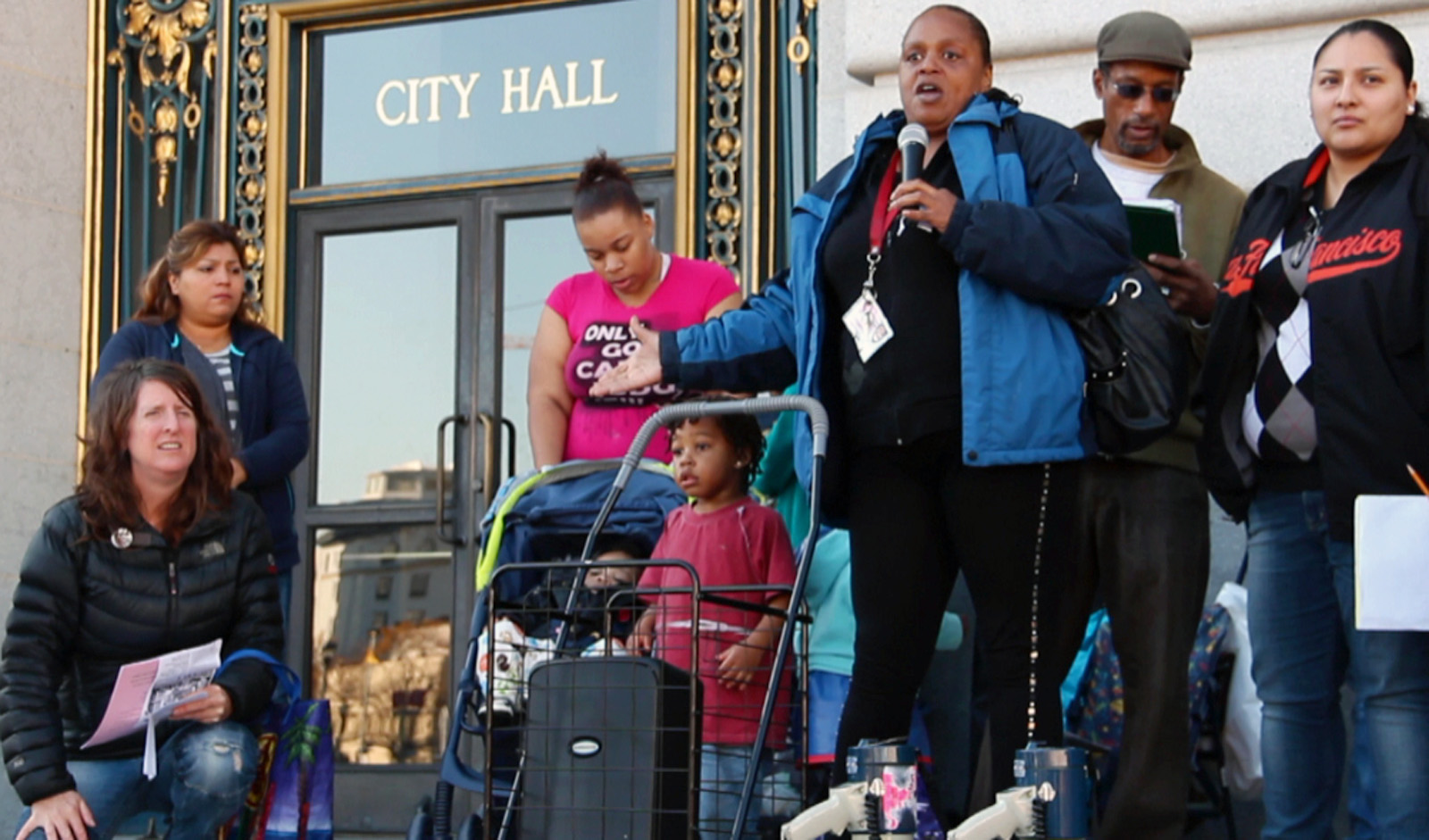 Homeless parents gather to share their concerns outside of City Hall before demanding to schedule a meeting with Mayor Ed Lee. Photo by Ryan Loughlin.