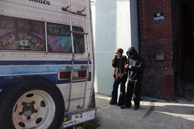 Hannah Salmons and boyfriend Zachary O'Dir, outside their motor home.