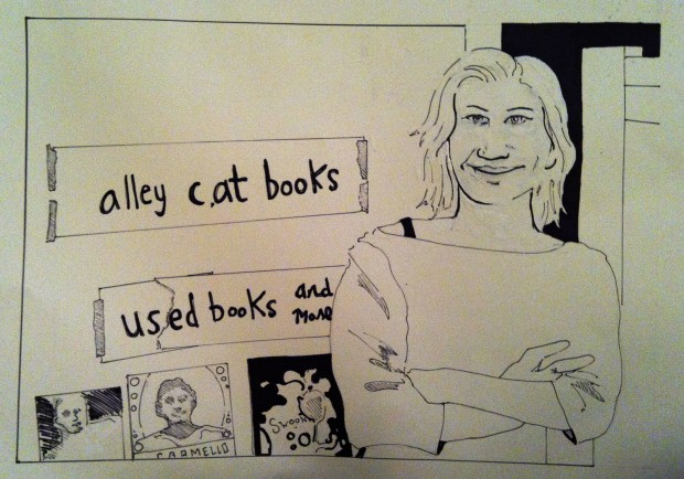 Kate Rosenberger hopes to spend most of her time at her new 24th Street bookstore. Drawing by Robyn Dalbey.