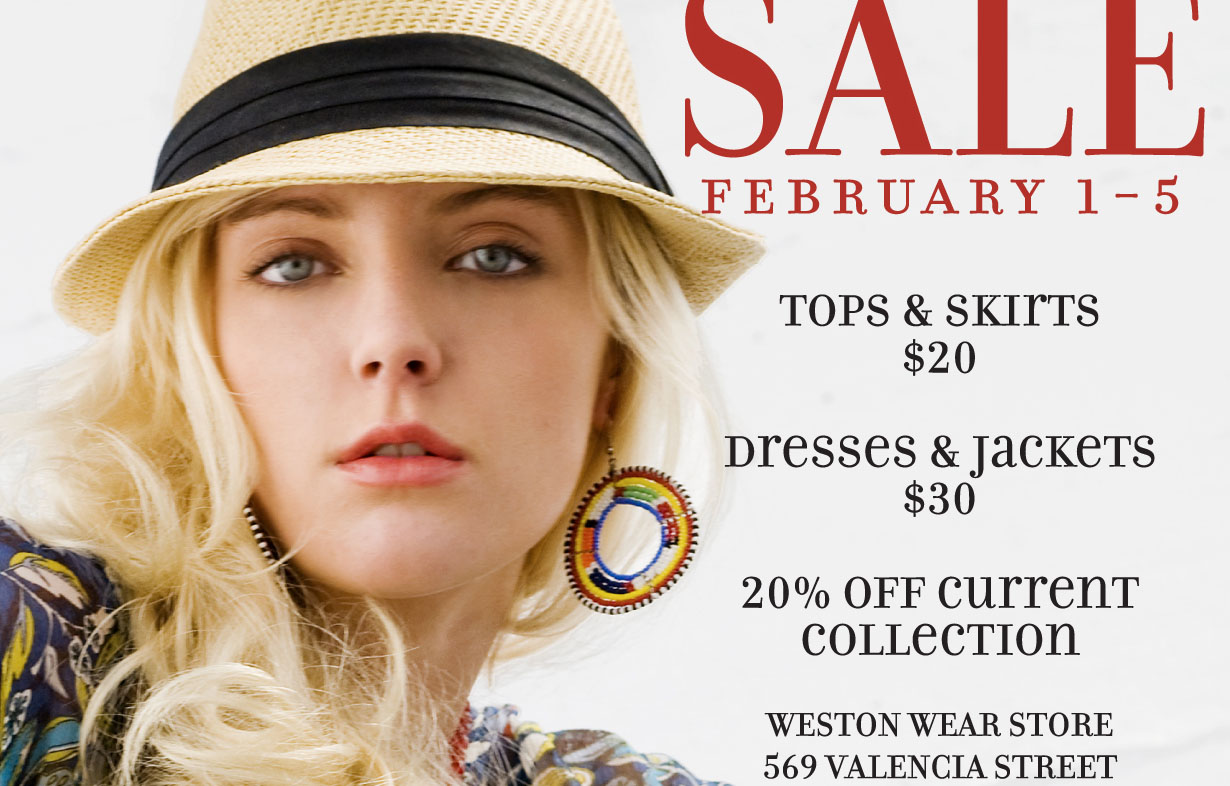Weston Wear Sale Starts Today