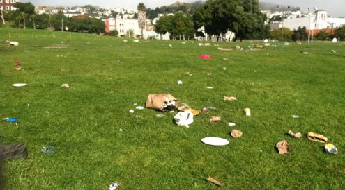 Dolores Park Trashed on Earth Day