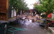 Stable Cafe's courtyard and Saison were affected by this morning's flood.