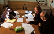 Cameron Stephenson, left, leads an administration meeting with Assistant Principal Lena Van Haren and Principal Richard Curci. Photo by Kate Elston.
