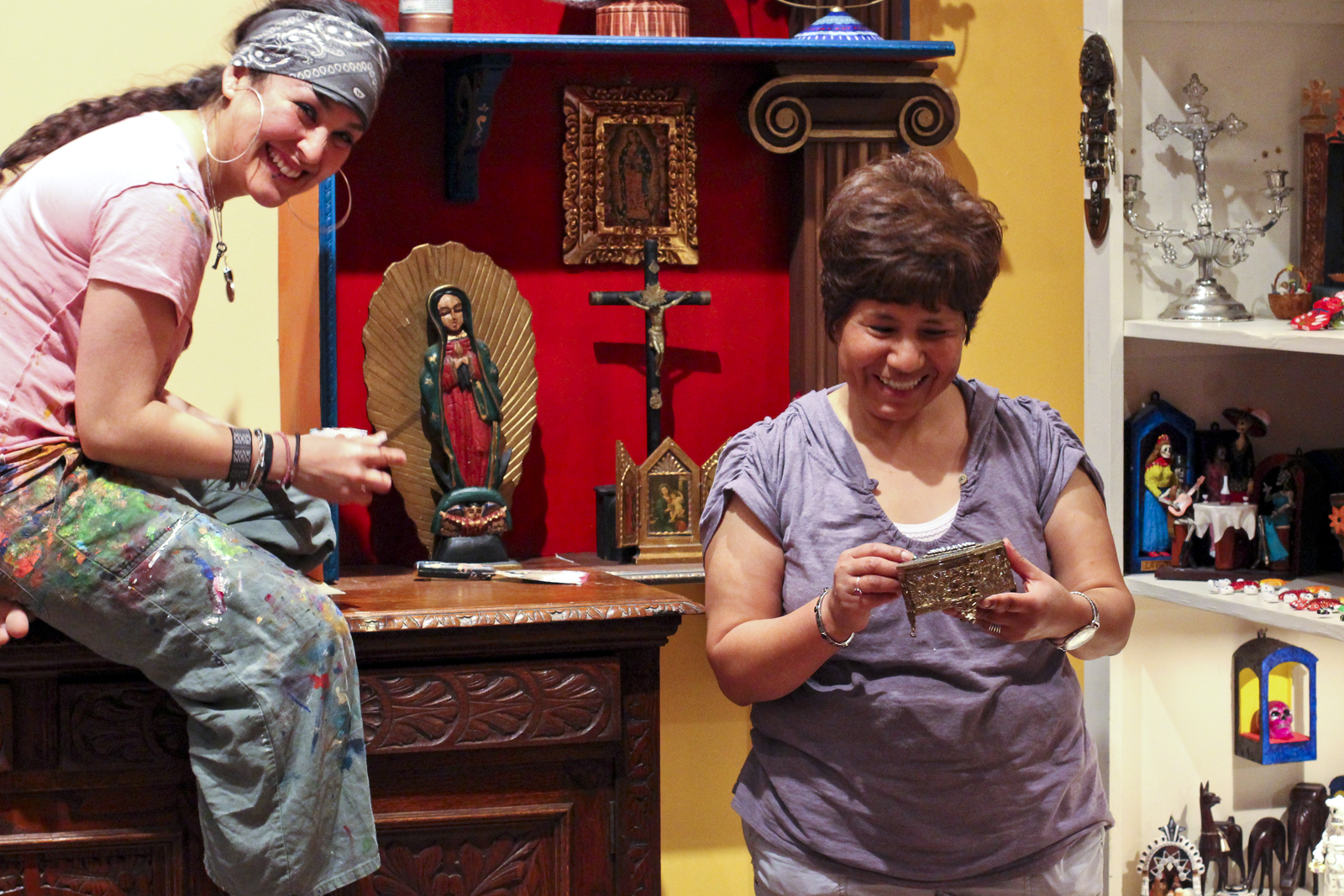 Store owner Denise Gonzales (right) with artist Denisse Ogata.
