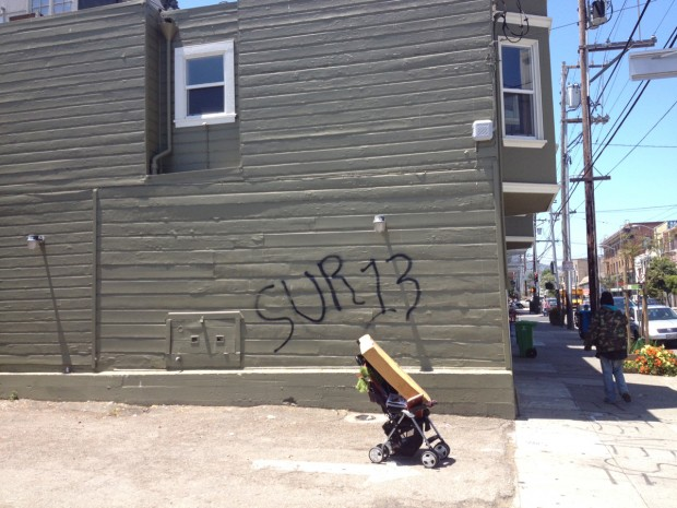Gang graffiti appears at 18th st and south van ness for 18th street gang mural
