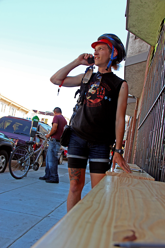 Stop! Ask. Two-Wheeled Delivery Man