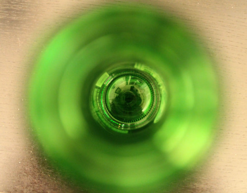 The inside of a beer bottle.