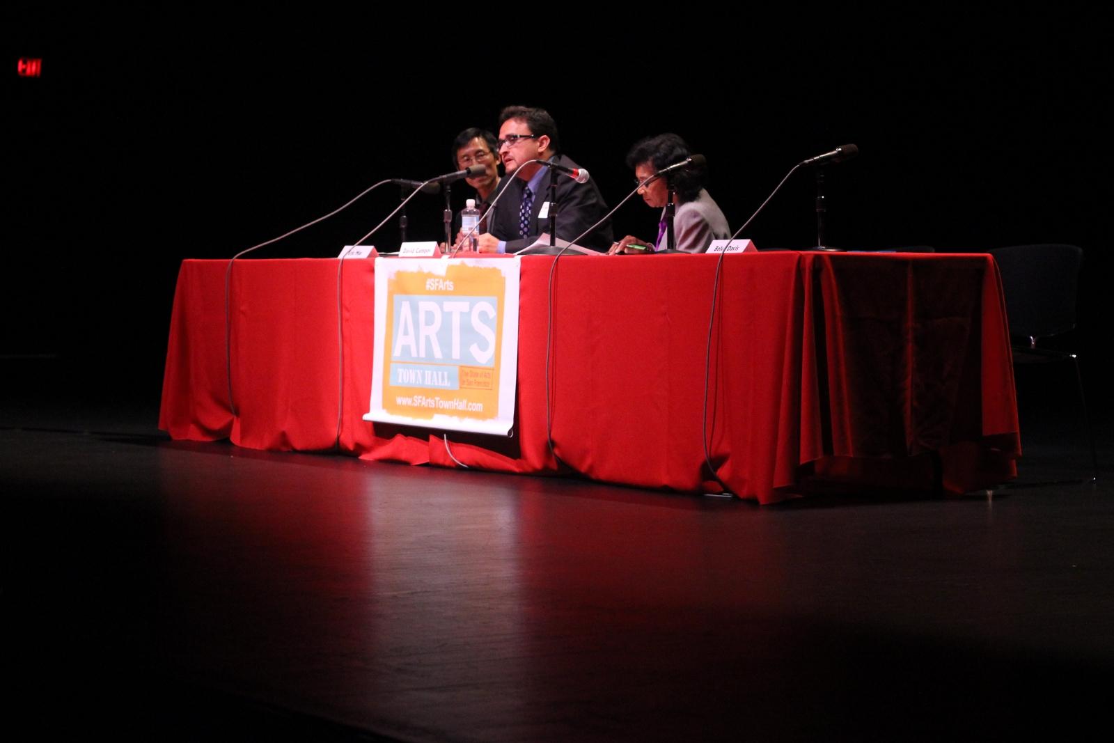 Supervisor David Campos, alongside Supervisor Eric Mar and journalist Belva Davis.