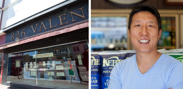 On the left, 826 Valencia, home to Young Authors' Workshop, on the right, James Choi, owner of Rhea's Deli