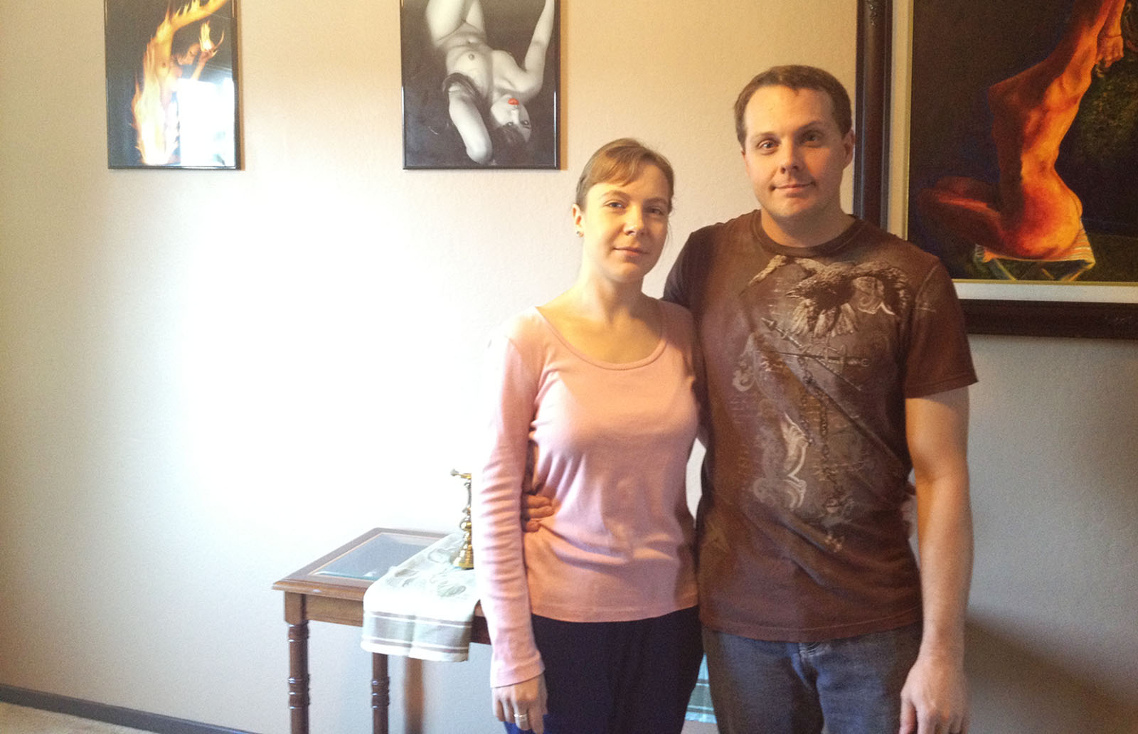 Gared Hansen and his Wife, Alena Koval, with their artwork.
