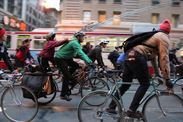 Thousands gathered for the 20th anniversary of Critical Mass in San Francisco. Photo by Chelsi Moy.