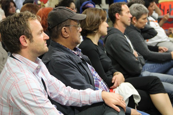Audience members listen to the panel at the Good Samaritan Family Resource Center Monday night.