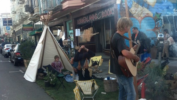 A pop-up parklet in front of the Mission Pool and Playground included live music and s'mores over an open fire.