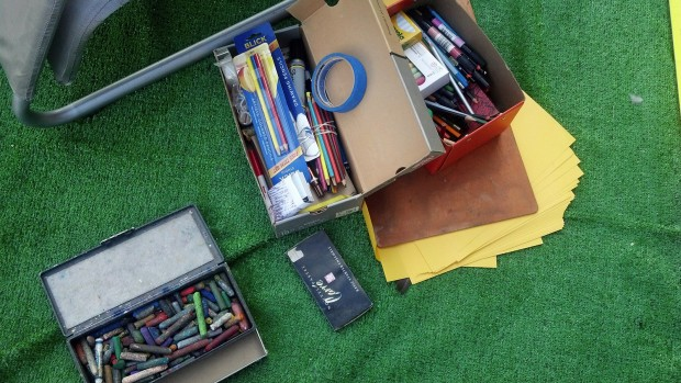 Art supplies were donated by some of the artists of Mission Artists United for the pop-up parklet that resembled an art studio.