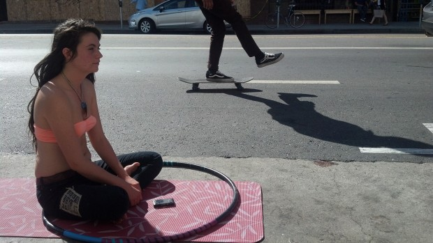 """""""There needs to be a lot more open space for humans,"""" said Ramsey Harvey from the parking spot she and her friends occupied on Valencia Street."""