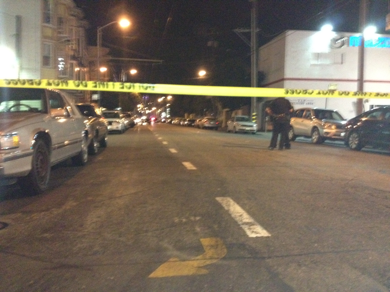 14th Street, between South Van Ness Avenue and Mission Street, was blocked off as police investigated an officer-involved shooting Thursday night.