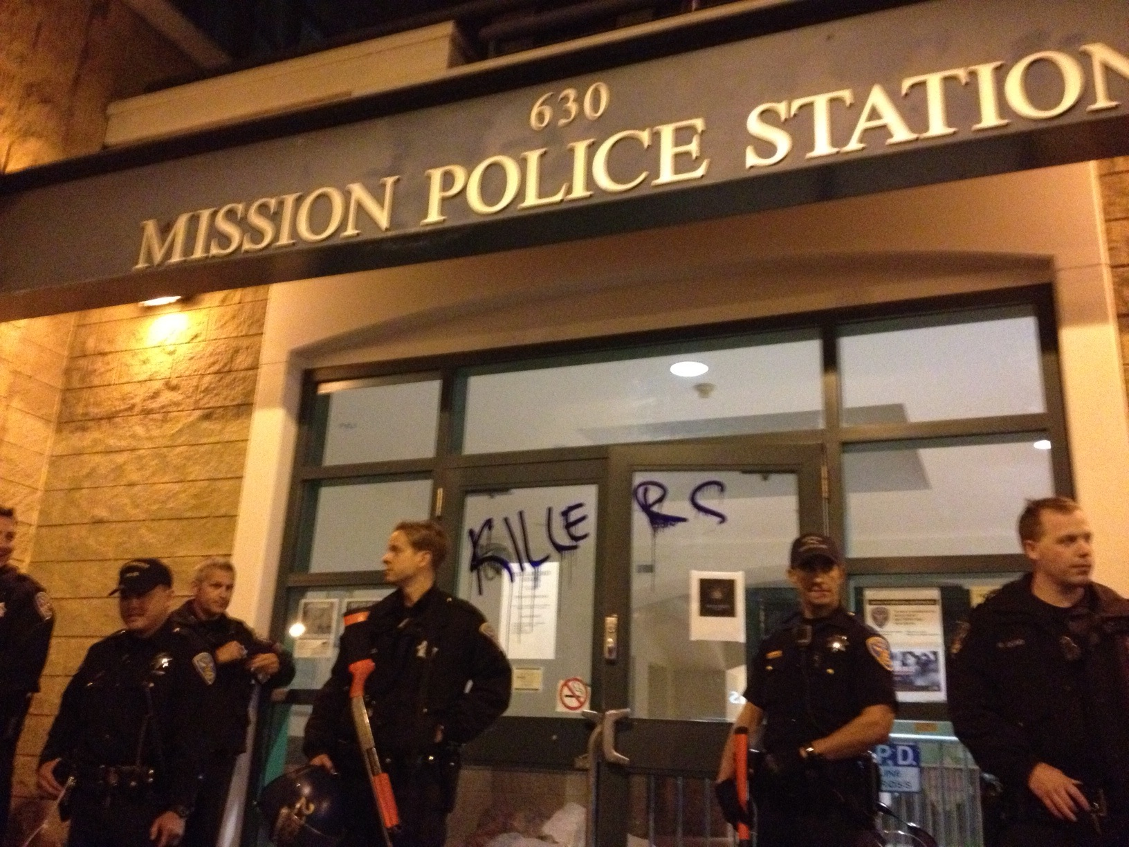 Protesters vandalized the Mission Police Station Thursday night.