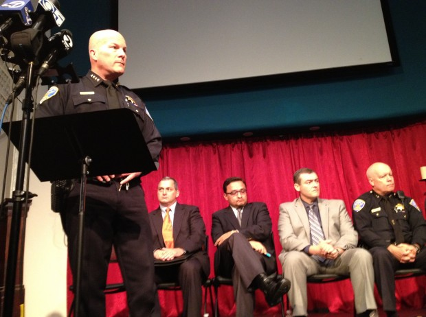 San Francisco Police Chief Greg Suhr addresses reporters and community members questions during a public forum on Monday morning. The event was in response to weekend protests and a police-involved shooting in the Mission neighborhood. Photo by Chelsi Moy.