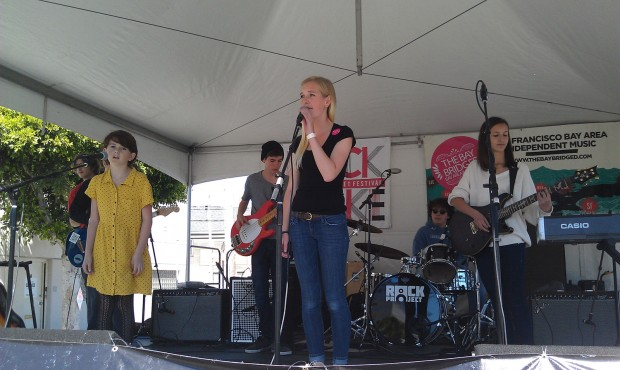 The SF Rock Project playing at the Rock Make Street Festival. Photo by Erica Hellerstein.