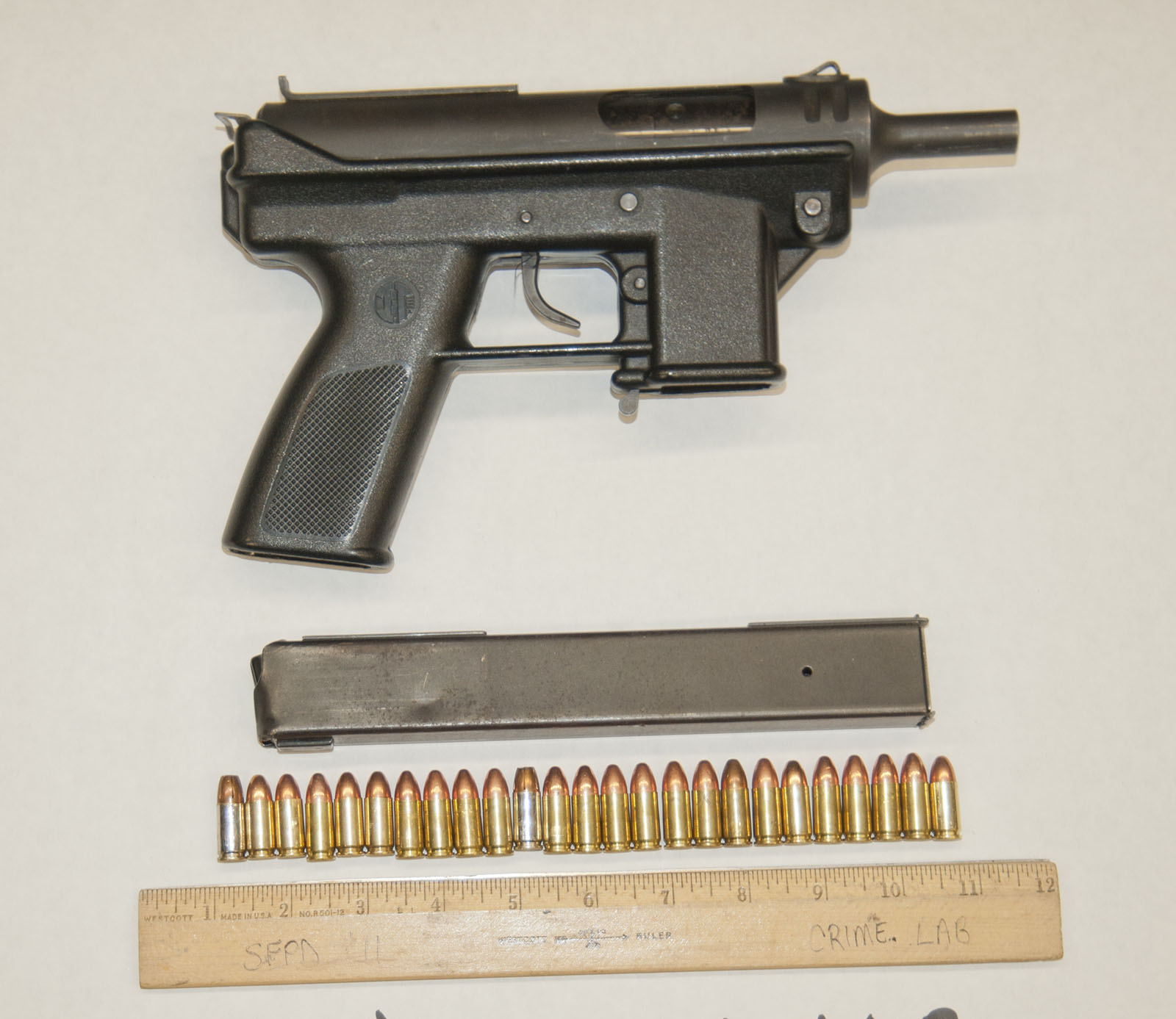 The Tec-9 pistol the SFPD confiscated from a 22-year-old man involved in an officer related shooting Thursday night. Photo courtesy of the SFPD.