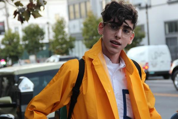 Leo Getman, 20, strikes a pose in his finest LitCrawl attire.
