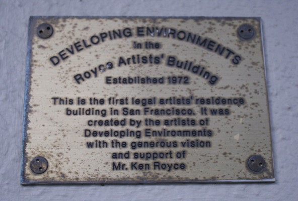 The dedication plaque on Developing Environments on 540 Alabama street.