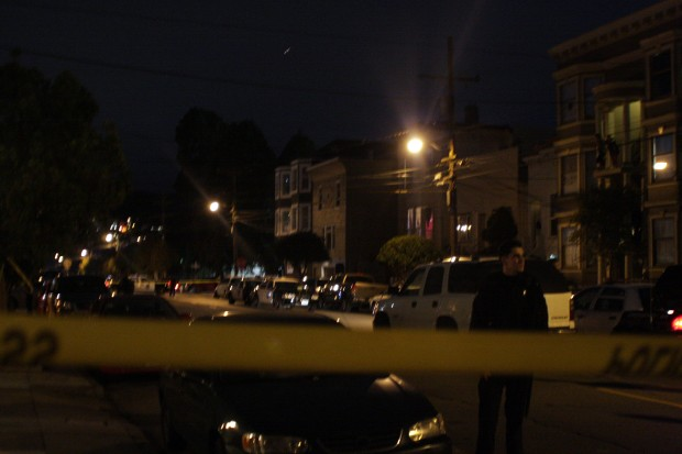 The San Francisco Police Department closed off Harrison Street, between 24th and 25th street, to investigate a double shooting early Wednesday morning.