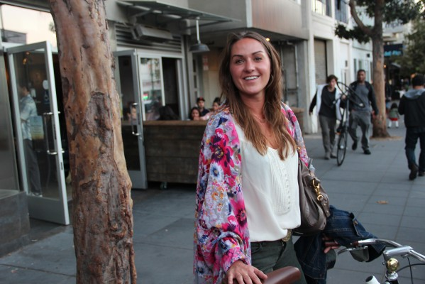 A floral scarf adorned Jocelyn Weiler'€™s shoulders as she hopped on her Linus bicycle and took off down Valencia St.