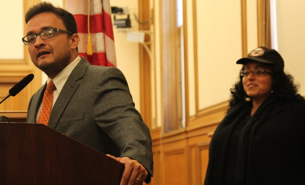 District Nine Supervisor David Campos and District Five Supervisor Christina Olague mark the launch of a national campaign to end homophobia in professional athletics at a press conference at City Hall Tuesday Morning.