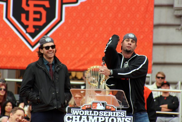 Giants pitcher Ryan Vogelsong talks to fans in front of City Hall. Photo by Rigoberto Hernandez.