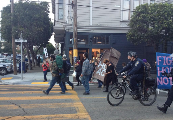 Protesters marching at 18th and Sanchez streets. Photo by Rigoberto Hernandez.