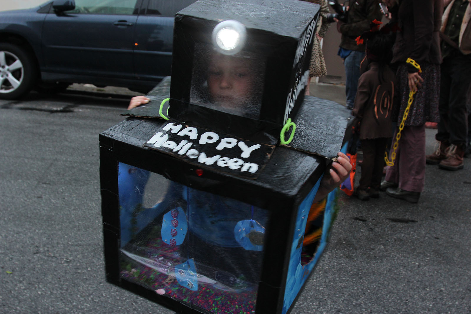 Calder, dressed as a fish tank shows his Halloween spirit. Photo by Alejandro B. Rosas