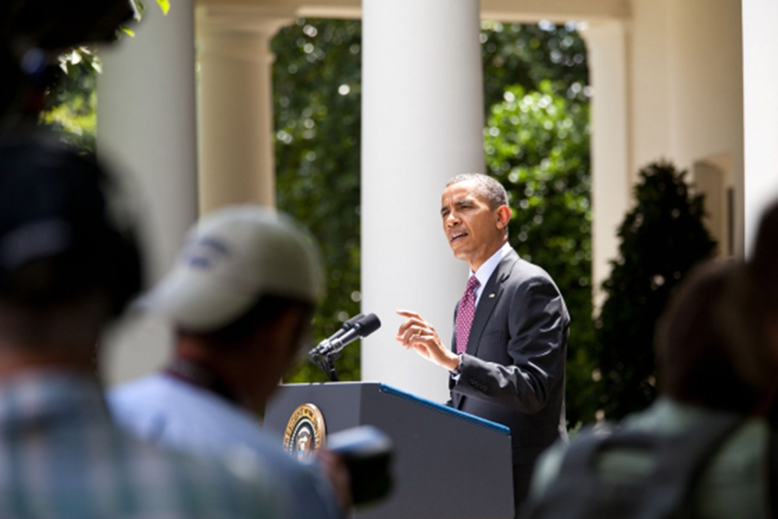 President Barack Obama announces his new immigration policy in the Rose Garden of the White House on June 15, 2012. Official White House Photo by Sonya N. Hebert.