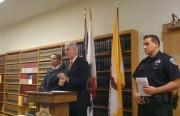District Attorney George Gascón, City Attorney Dennis Herrera, and SFPD spokesman Carlos Manfredi address the press Tuesday afternoon.
