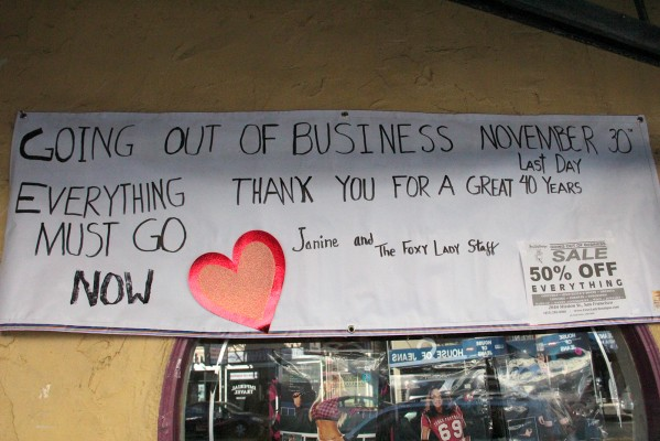Going out of business sale banner, outside the Foxy Lady Boutique.