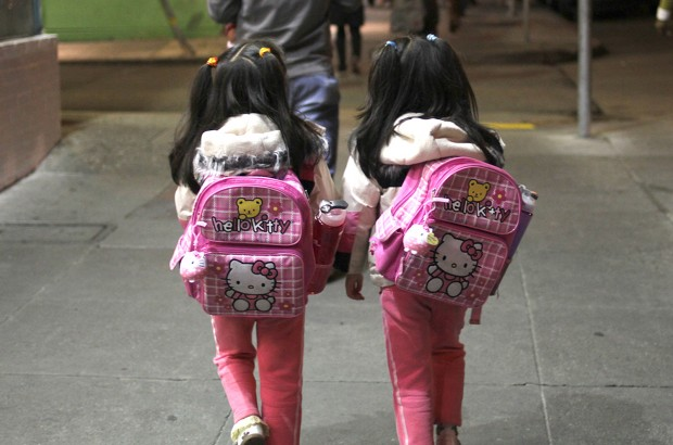 Two girls with Hello Kitty backpacks.