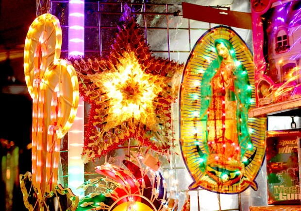 Christmas lights on display in the Mission District.
