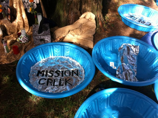 Artist Kevin O'Connor's altar is about the buried creeks of San Francisco. Each tub will feature water from the creek itself.