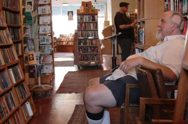 Two friends relaxing at Borderlands Books Tuesday afternoon.