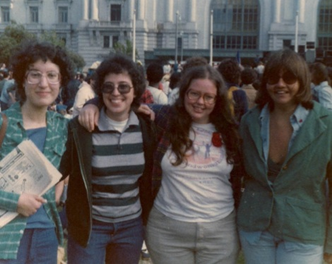 Englander, June 26, 1977, in a gay rights demonstration where women took over the front of the parade. This later became the Dykes on Bikes contingent.