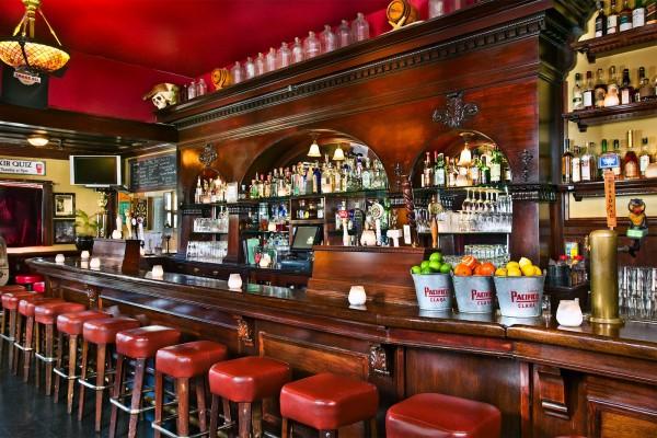 The bar at the Elixir Saloon.
