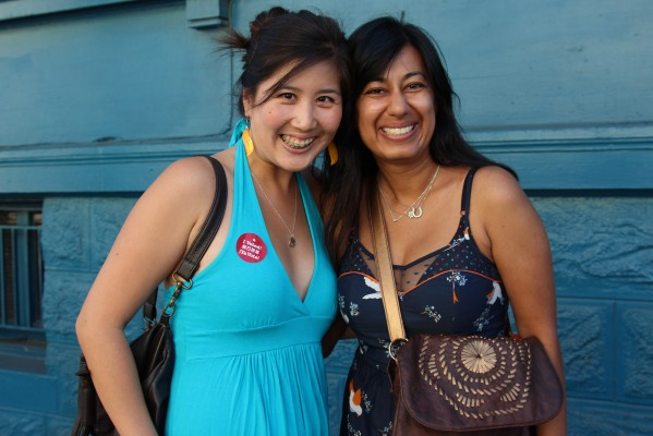Mission voters Ashu Khaitan, 30, and Emily Tsiang, 30, spotted near Valencia and 18th streets. Photo by Yousur Alhlou.