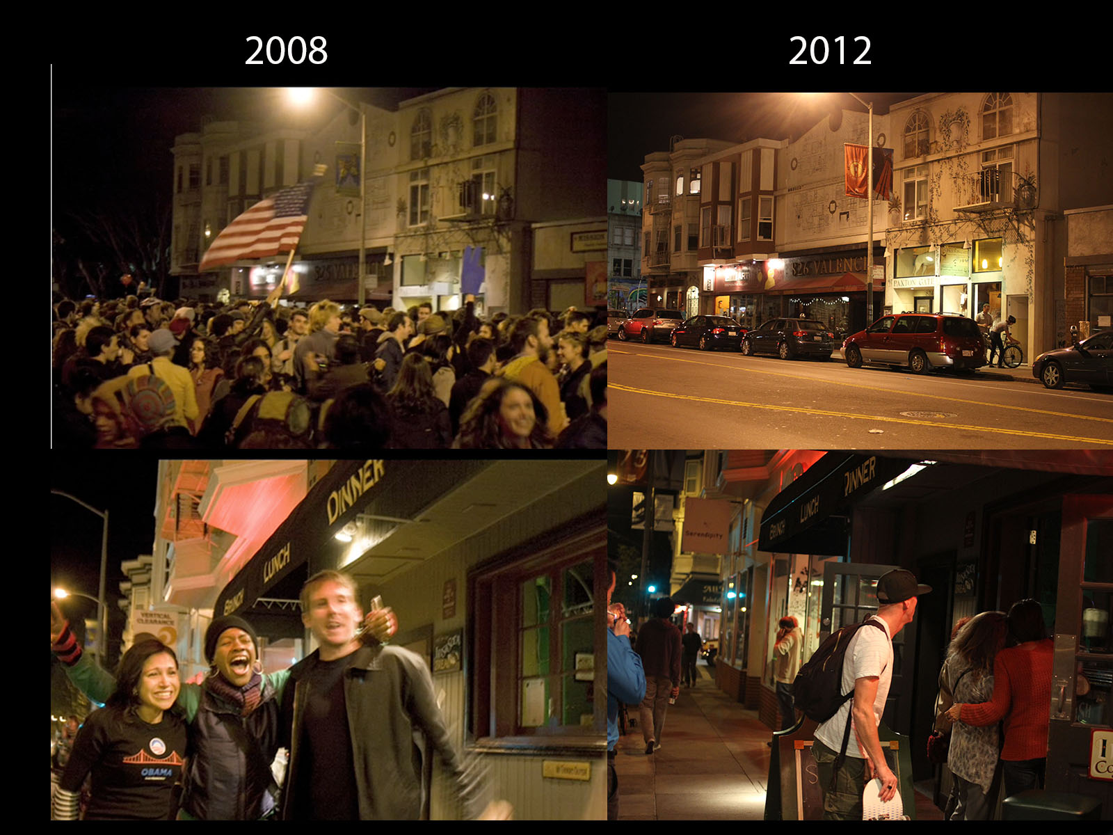 Then and Now: Valencia and 19th Sts. on Election Day, 2008 and 2012