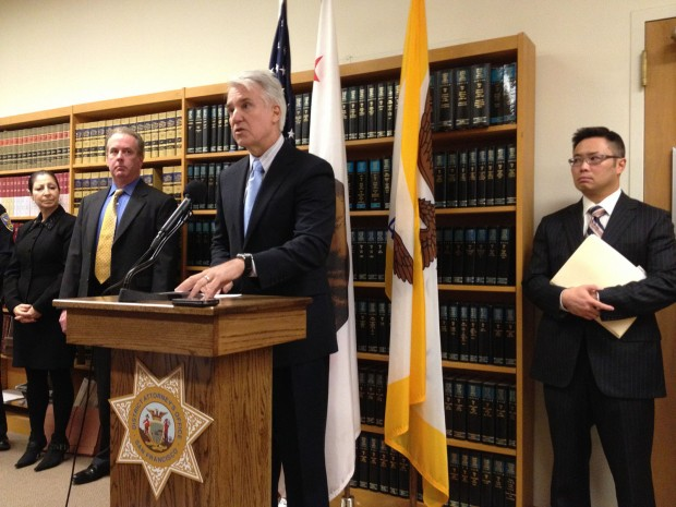 District Attorney George Gascón addresses the press after the Dozier verdict was read. Assistant District Attorney Marshall Khine, who prosecuted the case, is to his right. Inspectors Nannery and Gillespie, who investigated the case, to his left.