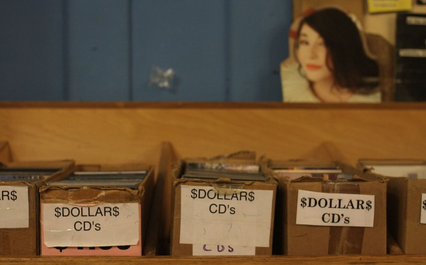 The dollar CD boxes at Aquarius Records.