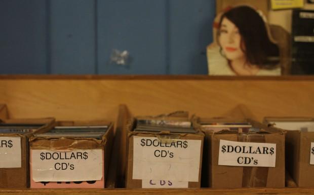 The dollar CD boxes at Aquarius Records.