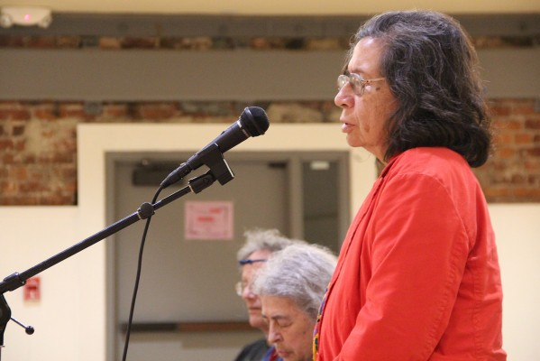 Yolanda Catzalco recited poetry in between the two panels at the Women's Building Saturday night.
