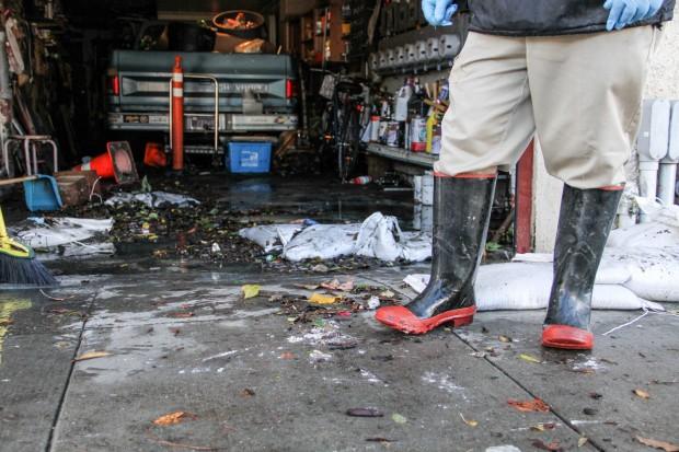 The wreckage inside Samuel Picaso's garage.