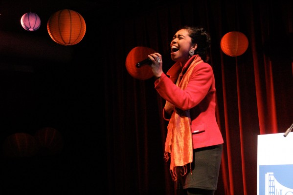 Aisha Fukushima who is from Seattlle, Washington and Yokohama, Japan sang songs and beatboxed.