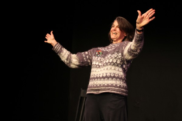 "Kathleen Denny takes a bow after performing her solo and self-produced play ""Holiday Spirits"" on a recent Monday at The Marsh theater."